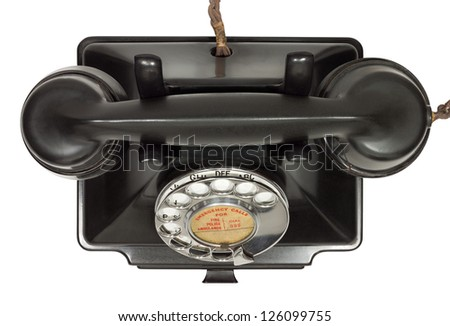 Old bakelite telephone. GPO 200 Series. 232 model. Shot from above. Isolated on white with clipping path - stock photo