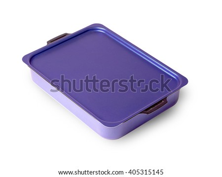 old baking tray covered with a lid on a white background