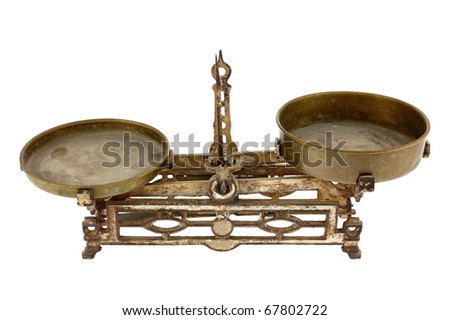 Old balance isolated on white background. Focus on foreground, intentional shallow depth of field. Studio work. - stock photo