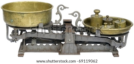 Old balance isolated with clipping path - stock photo