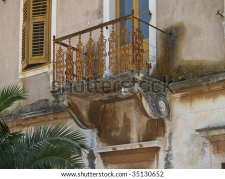 Old balcony in adriatic city