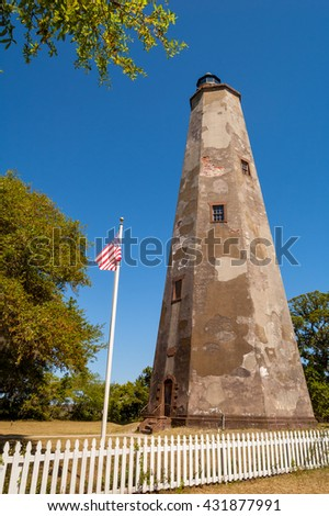 Old Baldy lighthouse on Bald Head Island, North Carolina/ Old Baldy - stock photo