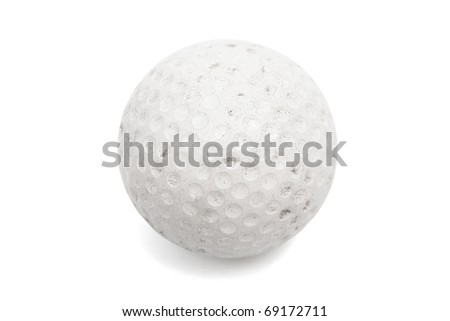 old ball golf on a white background - stock photo