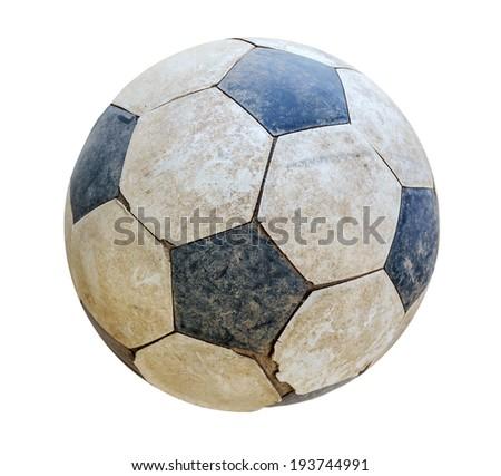 old ball on white - stock photo
