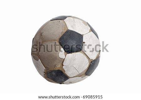 old ball on white background - stock photo