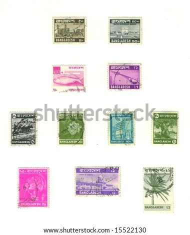 old bangladesh stamps - stock photo