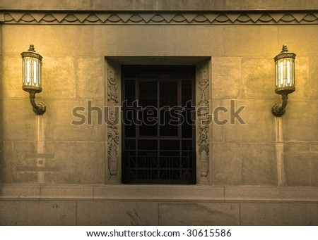 old bank building - stock photo