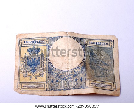 Old Banknote from Albania , Albanian Lek