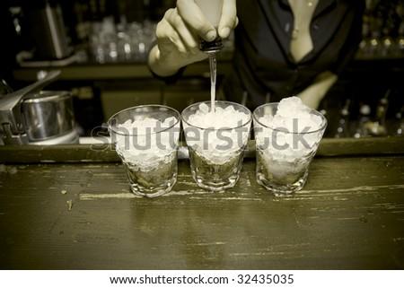 Old Bar. Monochrome, vignetting added - stock photo