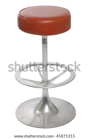 old bar stool on a white background - stock photo