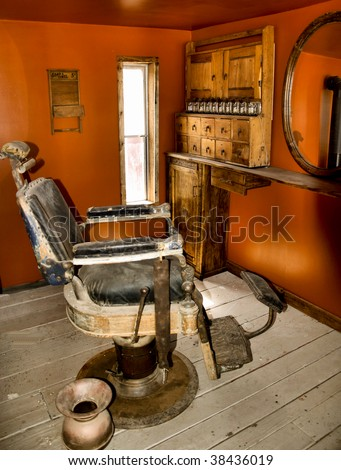 old barber chair from the days of the west
