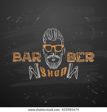 Old Barber Pole Sign Gentleman Shop Vintage Design Template Background Mustaches