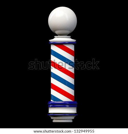 old barber pole sign isolated on black background