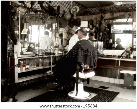 Old Barber shop - stock photo
