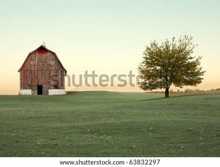 Old Barn and Tree in Autumn Field of Grass - stock photo