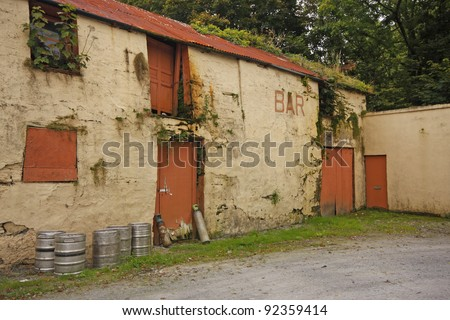 Old barn building beside a pub in Connonagh in West Cork in Ireland, Europe
