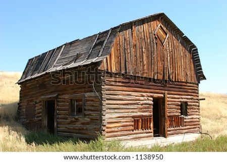 Old barn in Montana - stock photo