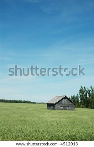 old barn in the prairie - stock photo