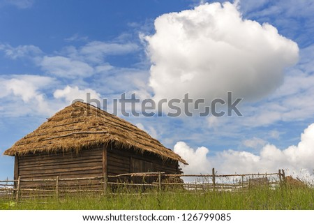 old barn in the Russian countryside (reconstruction)