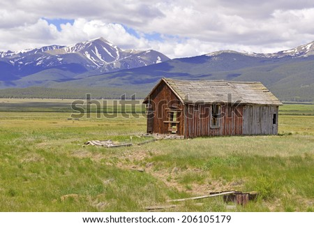 Old Barn on Ranch in the American West, USA - stock photo