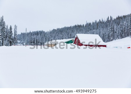 Old barn on snowy field in the British Columbia, Canada