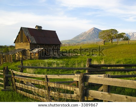 Old barn scene in western Colorado - stock photo