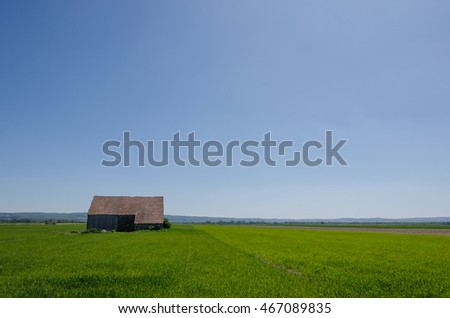 old barn wood and green field