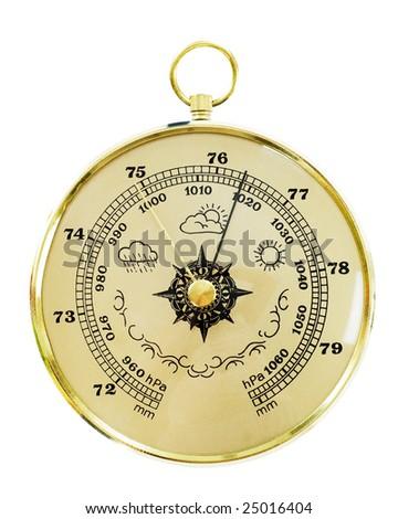 Old barometer isolated on white - stock photo