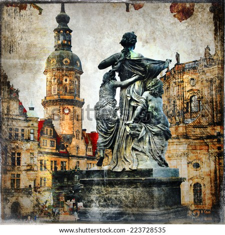 old baroque Dresden - vintage cards series - stock photo