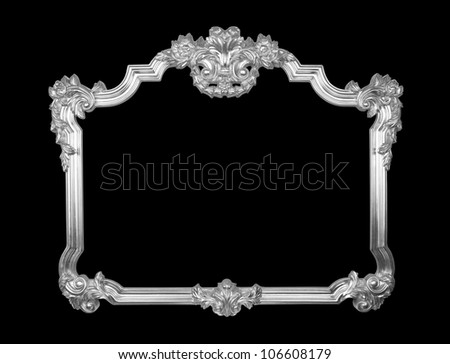 Old baroque silver frame - stock photo