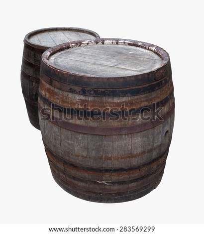 Old barrel isolated on a white background - stock photo