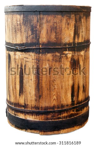 Old barrel isolated on white. Clipping path included. - stock photo