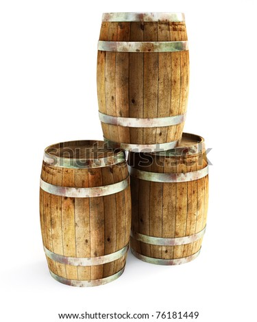 old barrels - stock photo