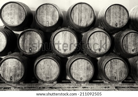 Old barrels for Whisky or wine on white and black - stock photo