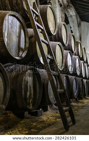 Old barrels for Whisky or wine with wooden step ladders - stock photo