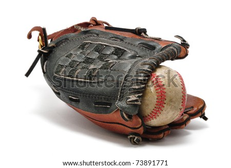Old baseball and Glove isolated on white. - stock photo