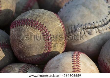 Old baseball balls close up background - stock photo