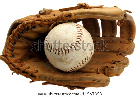 Old Baseball Mitt with Softball Isolated on White. - stock photo