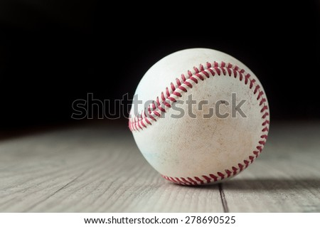 Old baseball on wooden background and highly closeup - stock photo