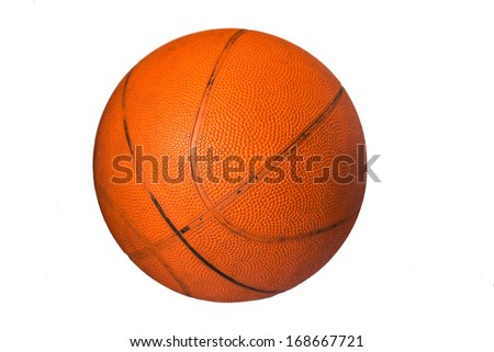 old basketball ball over a white background  - stock photo