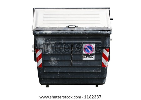 Old battered wheelie bin isolated on white with CP - stock photo
