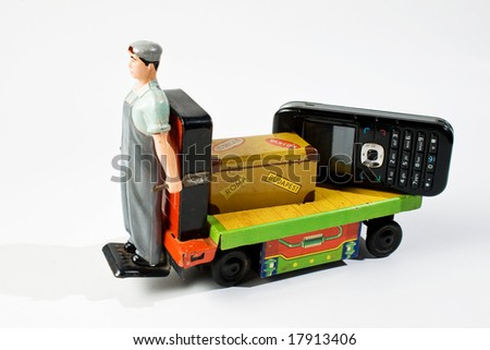 old battery car toy with package and mobile phone