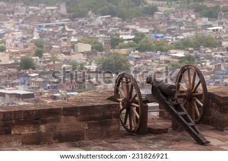 Old battle cannon at the Mehrangarh Fort, Jodhpur, India - stock photo