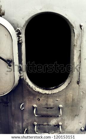 Old Battleship Open door - stock photo
