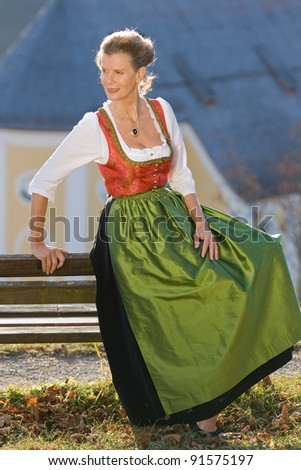 Old Bavarian woman in fashionable festive costume /Old Bavarian woman in traditional dress