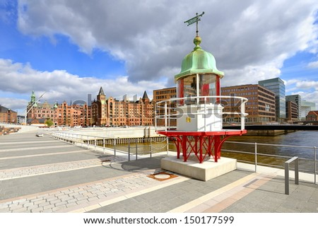 Old beacon in Hamburg Hafencity - stock photo