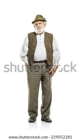 Old bearded bavarian man in traditional hat, isolated on white background - stock photo