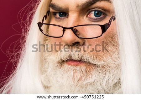old bearded professor man wizard glasses stock photo 449607886