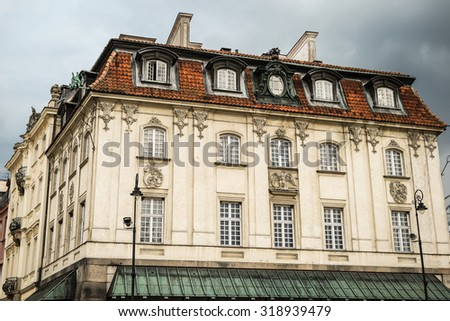 old beautiful architecture of houses in Warsaw - stock photo