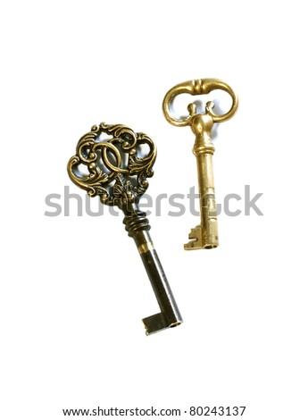 old beautiful key with ornament isolated on white background